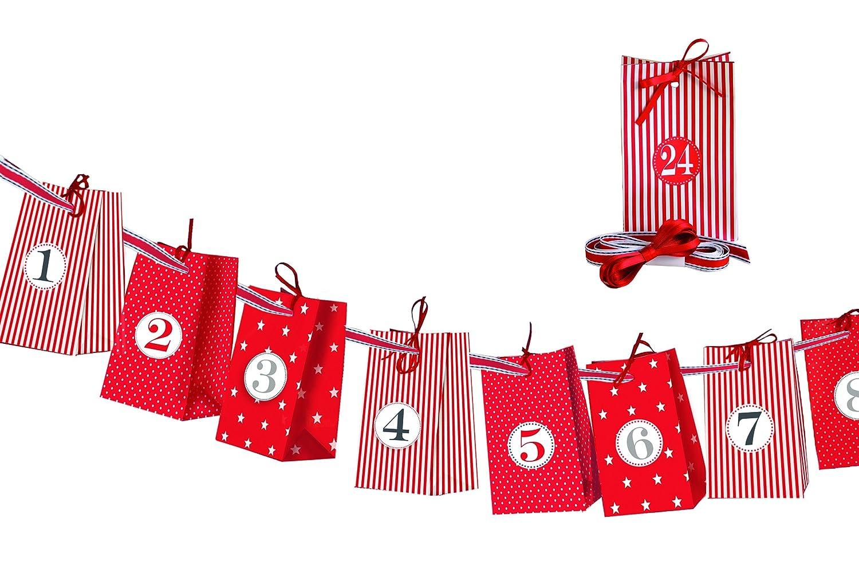 Braun 'marrone + Company 4594–0001Calendario dell' Avvento Set Mix in scatola trasparente, carta, Rosso, 14.5x 3x 22cm 4594-0001