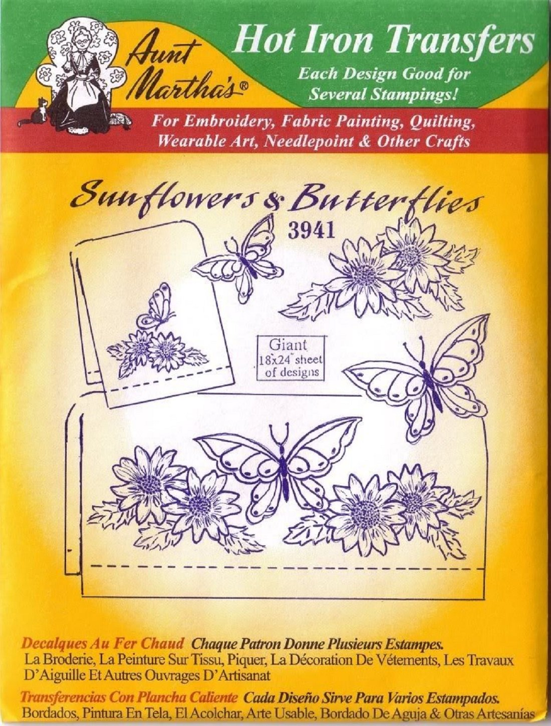 Amazon.com: Aunt Martha\'s Hot Iron Transfers 3941 Sunflowers and ...