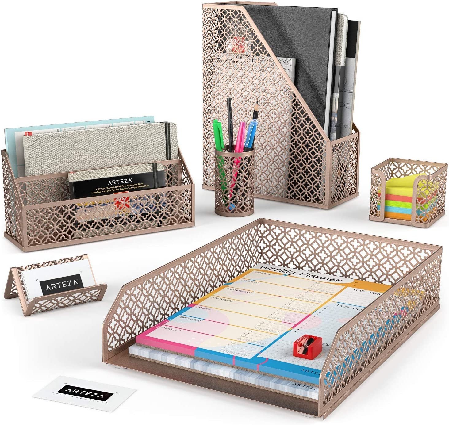 Arteza Desk Organizer Accessories Set in Rose Gold, 6-Piece Includes Pencil Cup Holder, Letter Sorter, Letter Tray, Magazine Holder, Name Card Holder, Sticky Note Holder for Home or Office