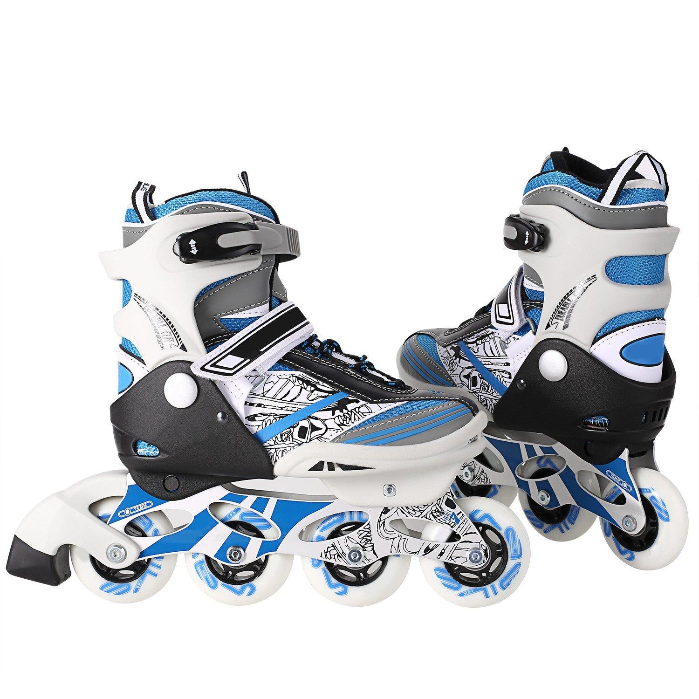 ANCHEER Adjustable Inline Skates Girls Boys| Aggressive Youth Roller Skate Kids Rollerblade Gift Box Inline Skating Trick Training Outdoor Indoors Medium Size 1 2 3 4 Cool Mesh