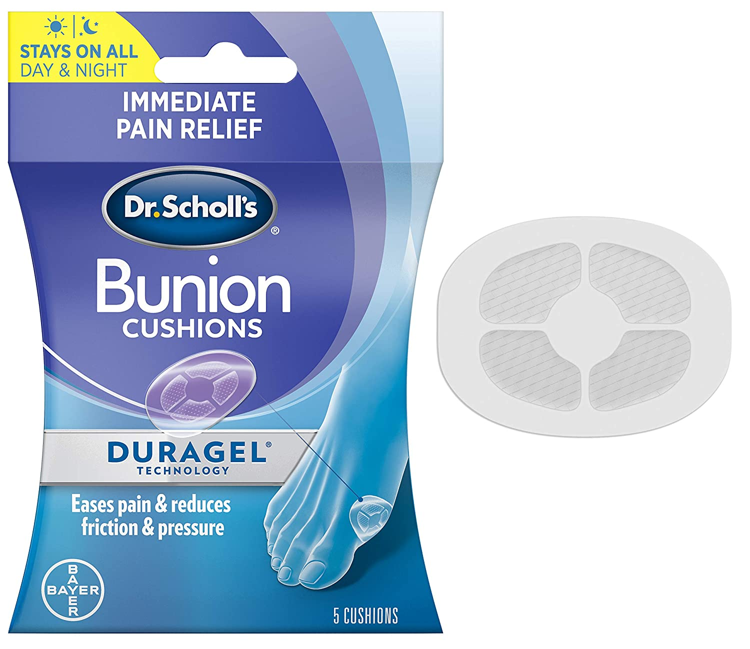 Bunion Cushion with Duragel Technology, 5ct // Cushioning Protection Against Shoe Pressure and Friction That Fits Easily in Any Shoe for Immediate and All-Day Pain Relief