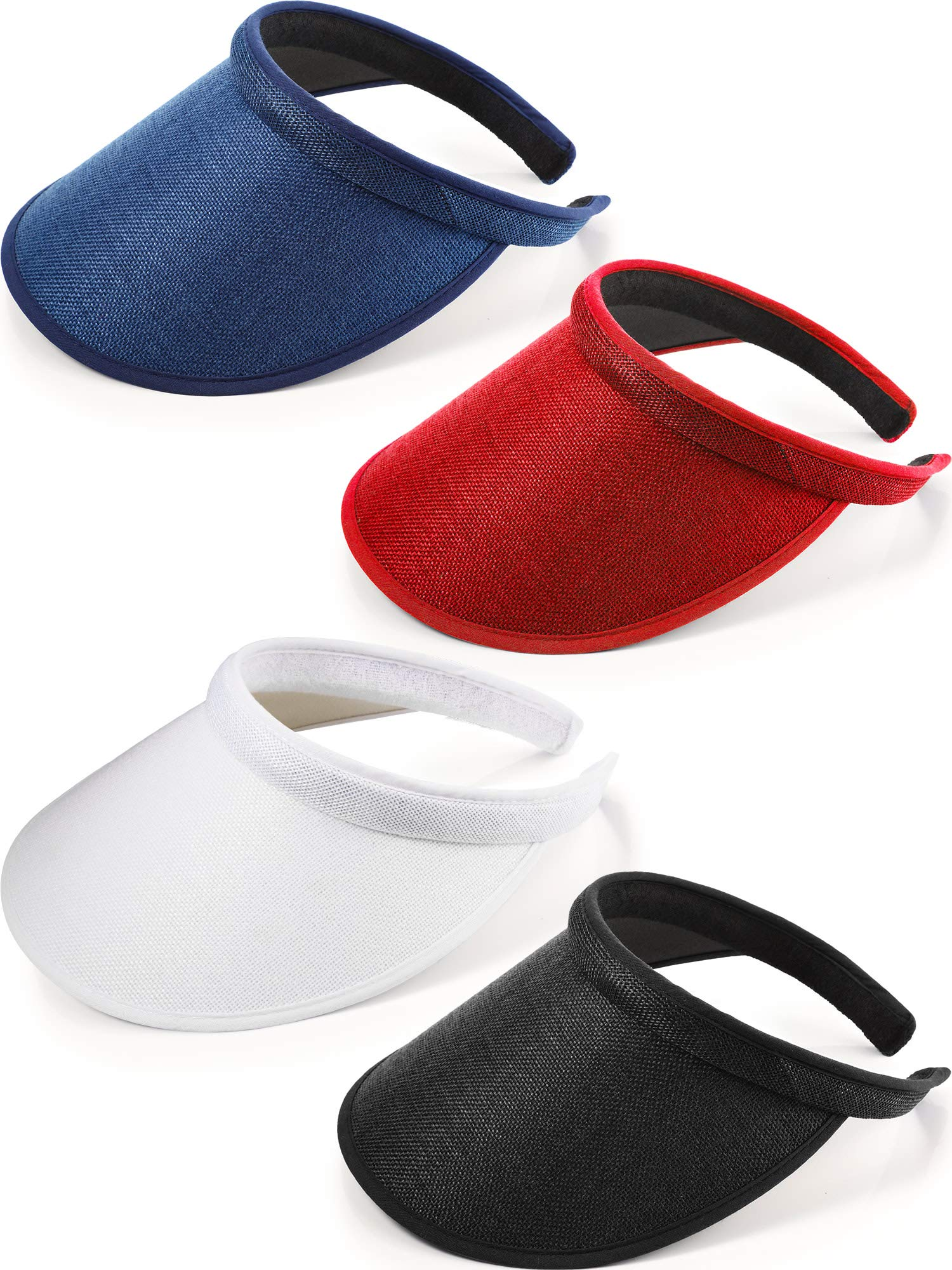 4 Pieces Clip on Visor Sun Visor Hat Wide Brim Clip on Head Cap Visors for Women