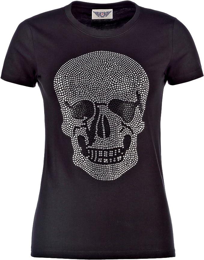 Damen T Shirt mit Strass Totenkopf