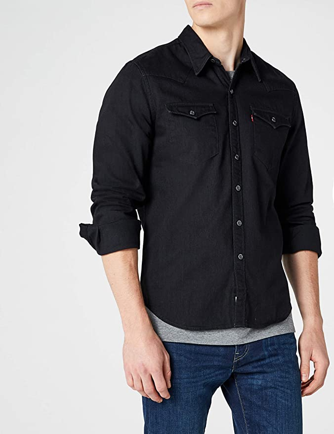 Levis Mens Barstow Western Pocket Shirt, Black at Amazon Mens Clothing store: