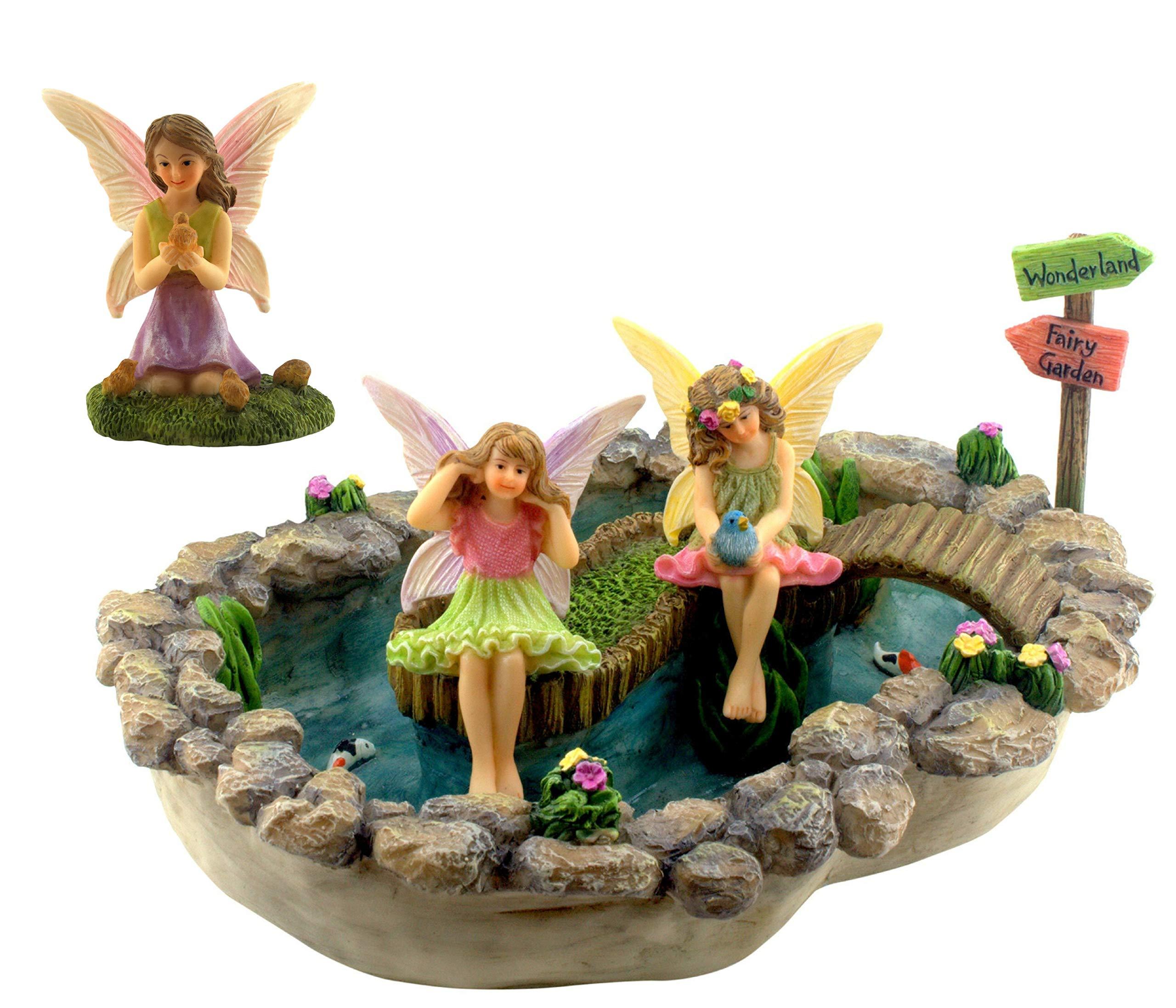 Pretmanns Fairy Garden Pond Accessories - Miniature Fairies Set - 3 Figurines & Sign - Large Lily Pond (8.3'' x 6.1'') - 5 Pieces