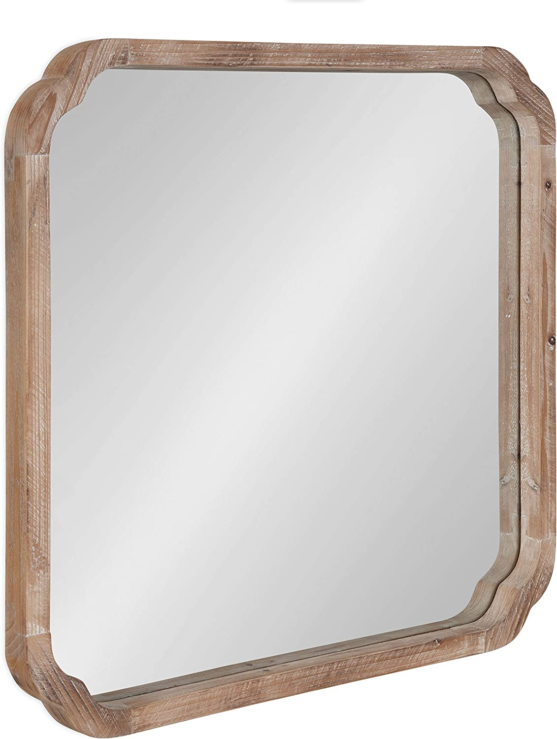 """Kate and Laurel Marston Rustic Square Wall Mirror, 24"""" x 24"""", Natural Wood, Decorative Farmhouse-Inspired Wood Wall Decor"""