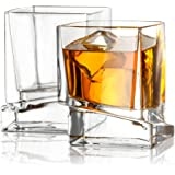 JoyJolt Carre Square Scotch Glasses, Old Fashioned Whiskey Glasses 10-Ounce, Ultra Clear Whiskey Glass for Bourbon and…