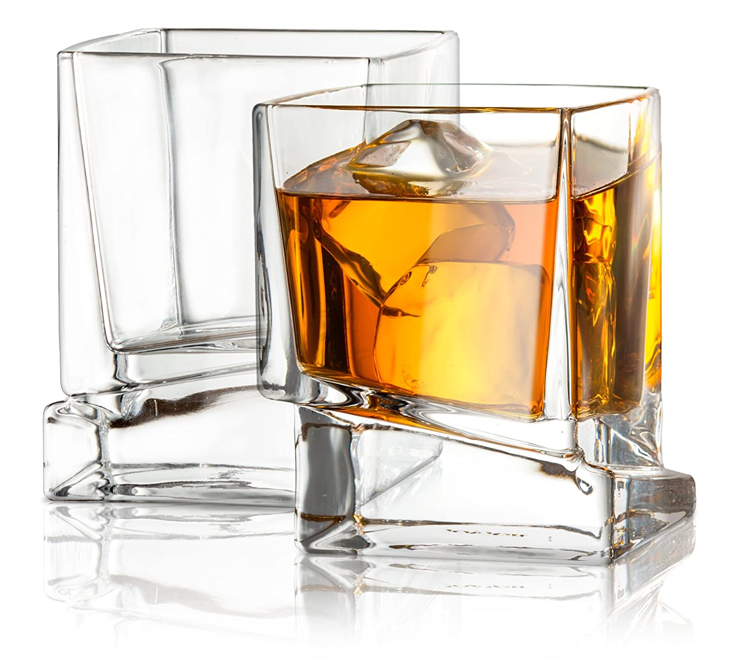 JoyJolt Carre Square Scotch Glasses, Old Fashioned Whiskey Glasses 10-Ounce, Ultra Clear Whiskey Glass for Bourbon and Liquor Set Of 2 Glassware JG10226