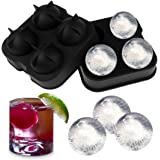 Sphere Ice Ball Maker - Silicone Tray with Lid - Easy to Fill, Use & Clean - 4 Molds - Dishwasher Safe - by Utopia Home