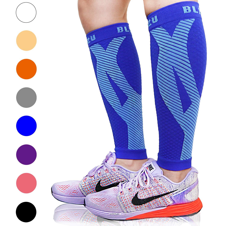 BLITZU Calf Compression Sleeve Leg Performance Support Shin Splint & Calf Pain Relief. Men Women Runners Guards Sleeves Running. Improves Circulation Recovery (Blue, Small/Medium)