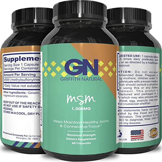 Pure MSM Supplement Capsules – Joint Support for Increased Flexibility & Pain Relief – Anti-Wrinkle Anti-Aging Collagen Boosting Pills – Antioxidant Supplement For Men & Women – By Griffith Naturals