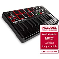 Akai Professional MPK Mini MKII | 25-Key Portable USB MIDI Keyboard With 16 Backlit Performance-Ready Pads, 8-Assignable Q-Link Knobs & A 4-Way Thumbstick Black Black