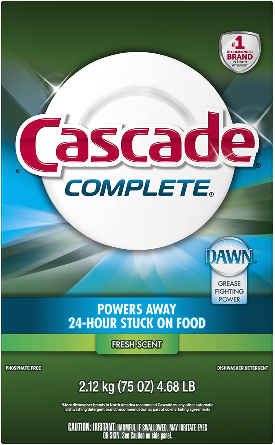 Cascade Complete Powder Dishwasher Detergent, Fresh Scent 75 Oz
