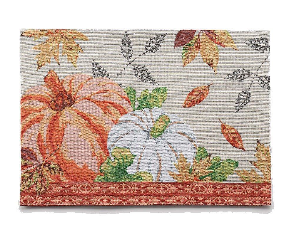 Harvest Pumpkinと葉タペストリープレースマット – Sz : 13 In x 18でのセット4   B074BLFTX6