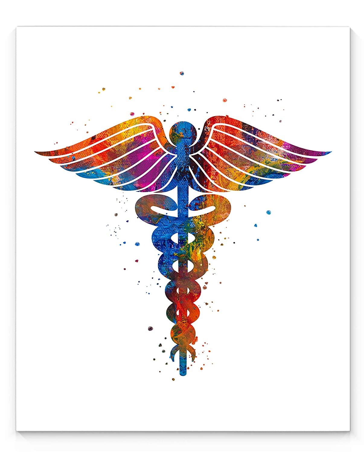 Caduceus Medical Symbol Abstract Wall Art, 11x14 inch Ready to Frame Print on White Background, Ideal for Doctors, Nurses, Vets and Medical Professionals, Clinic Decor