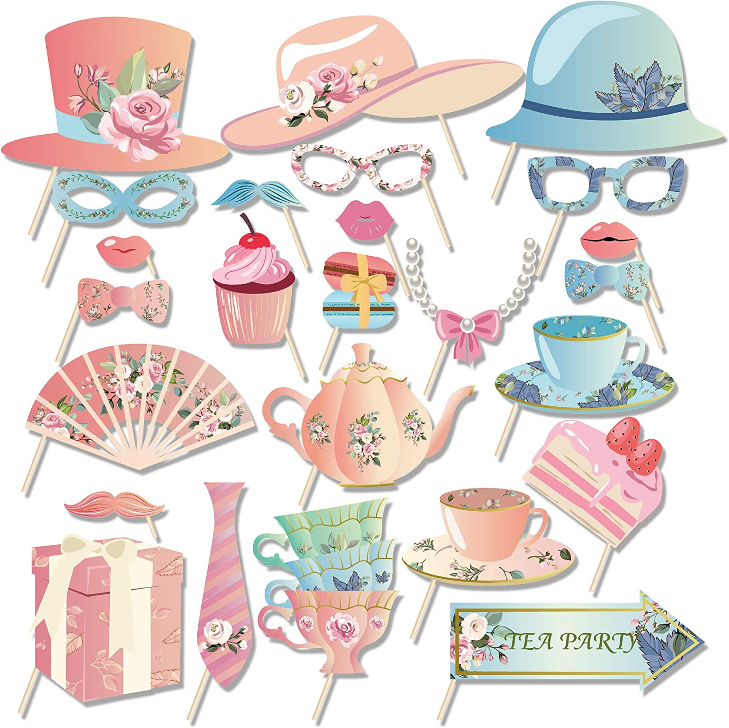 CC HOME Tea Party Photo Booth Props,Floral Party Supplies,Tea Garden Party Decorations 25CT