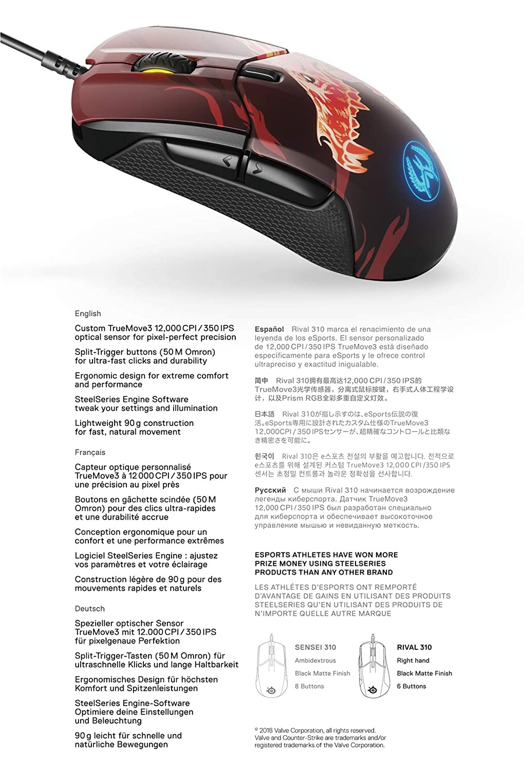 Steelseries Rival 310 Optical Gaming Mouse Rgb Illumination 6 Votrr Buttons Rubber Sides On Board Memory Csgo Howl Pc Video Games