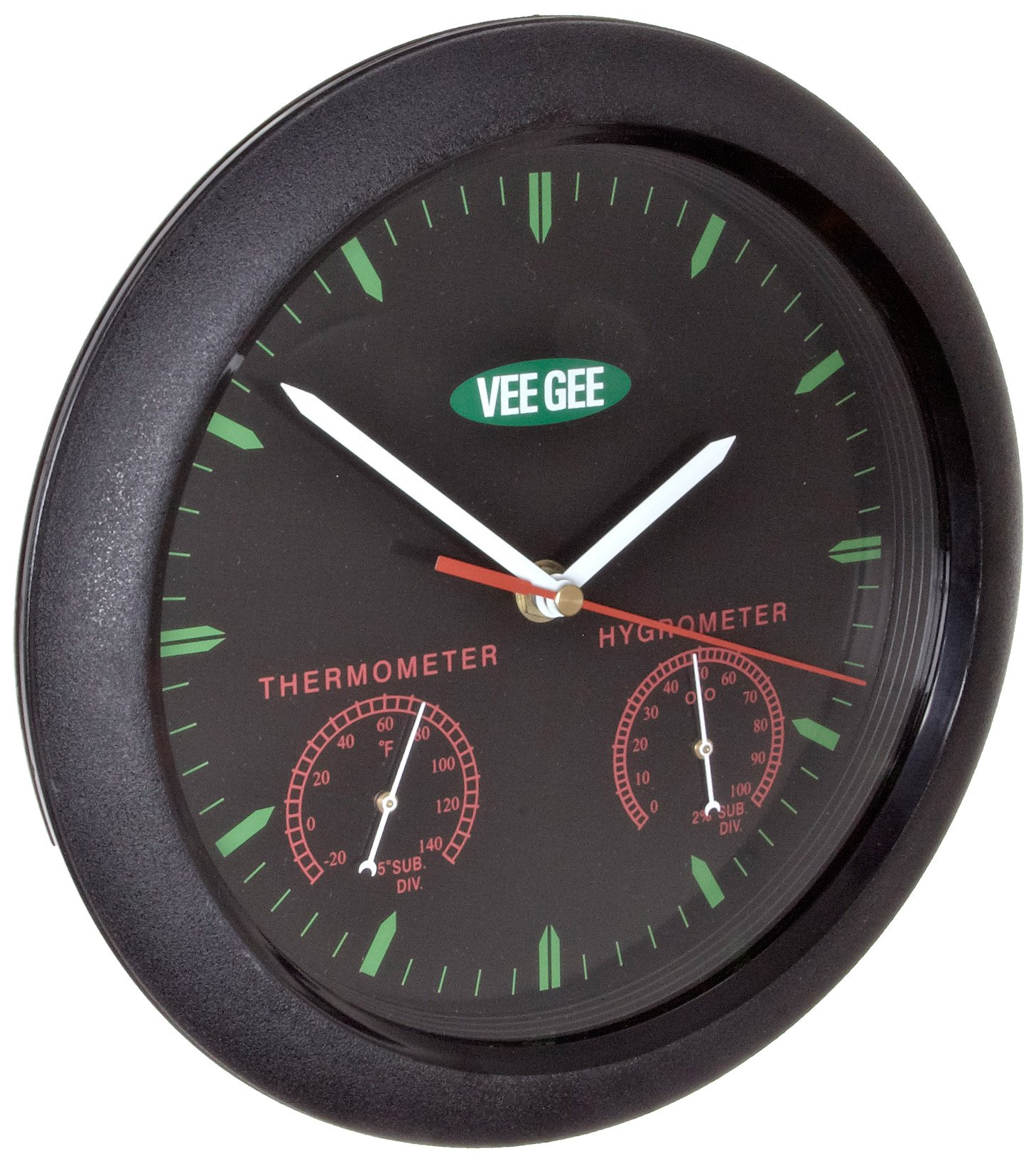 VeeGee Wall-Mount Thermometer-Hygrometer-Clock, Glass Face, 9-3/4'' Diameter, -20 - 140 Degrees F