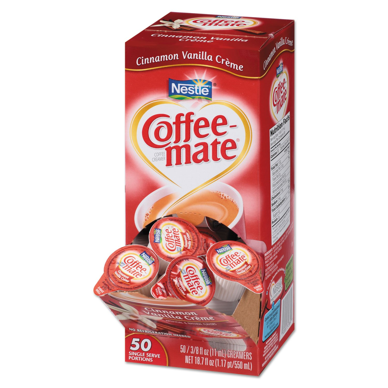 Coffee-mate 42498CT Liquid Coffee Creamer Cinnamon Vanilla 0.375 oz Mini Cups 50/Bx 4 Box/Carton