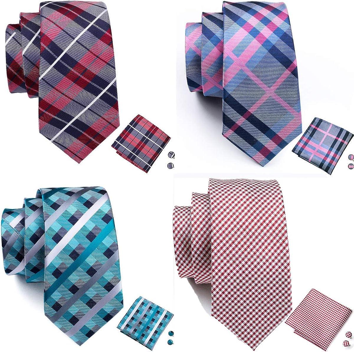 Barry.Wang Men's Ties Set Silk Wedding Neckties Woven Silk Formal Business Casual(4/6/8PCS)