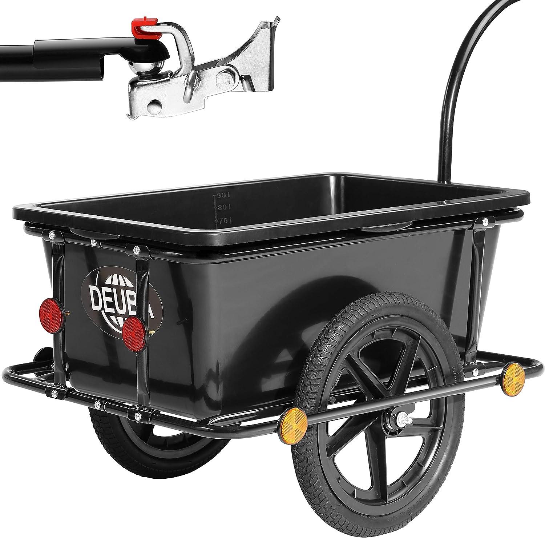 pneumatiques poign/ées 90 litres Deuba Remorque de v/élo avec Barre dattelage