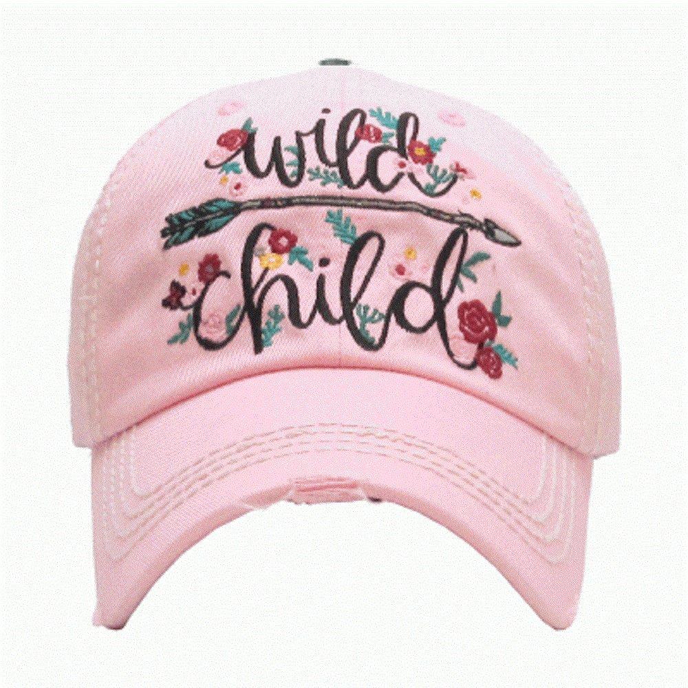 Wild Child Pink Washed Vintage Baseball Adjustable Cap.