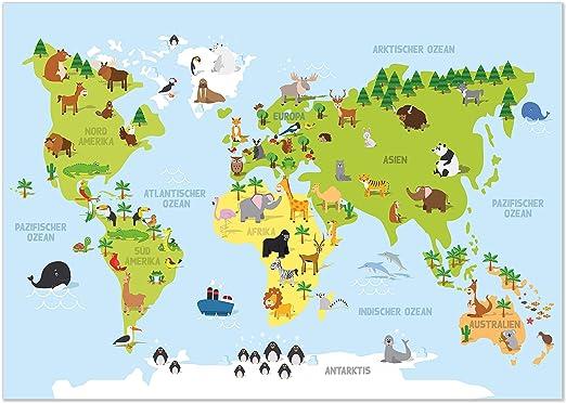 die weltkarte lernen Amazon.de: kizibi® Weltkarte Kinderzimmer Poster, Wanddeko Poster
