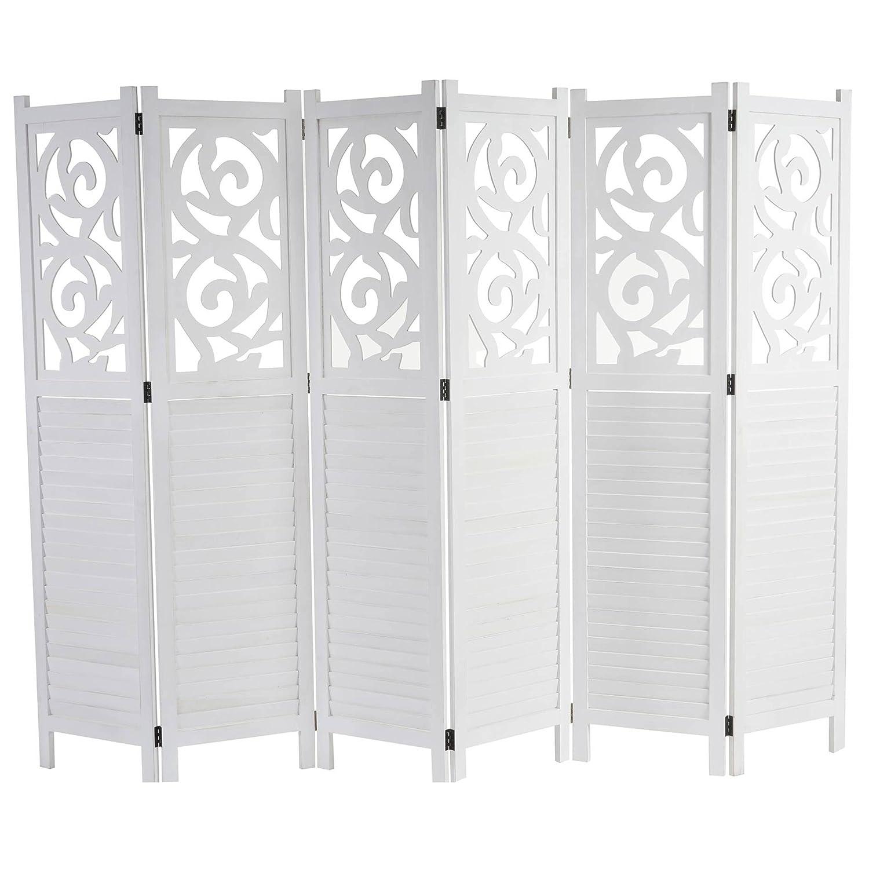 Mendler Paravent Istanbul, Raumteiler Trennwand Sichtschutz, Ornamente  170x240cm, weiß
