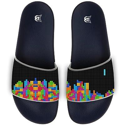 Building Blocks Pattern Slippers Skid-proof Indoor Outdoor Flat Flip Flops Beach Pool Slide Sandals For Men Women
