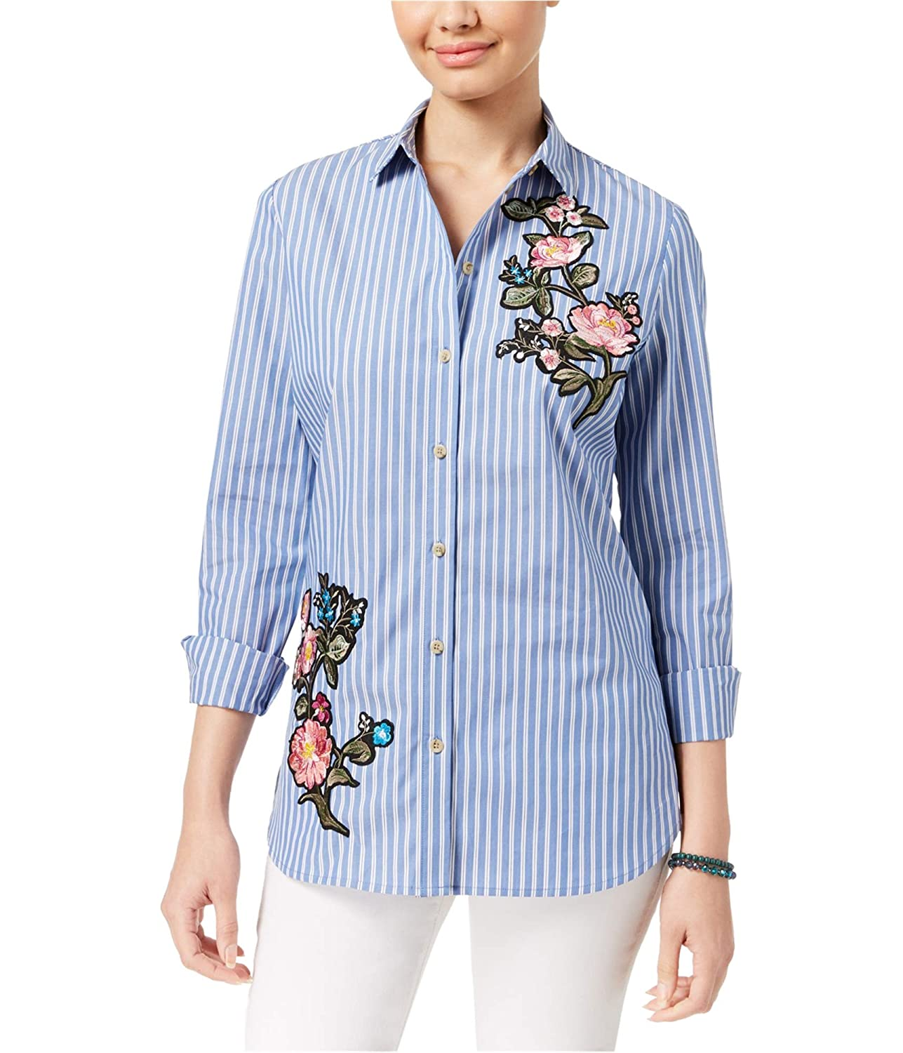 Polly /& Esther Womens Juniors Embroidered Striped Button-Down Top