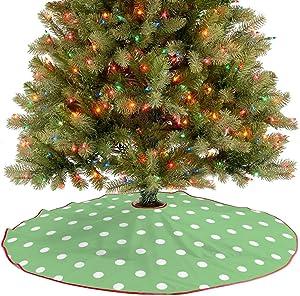 Amidaky Green Apple Polka Dots Christmas Tree Skirt for Christmas Decorations Indoor Outdoor 36''×36''