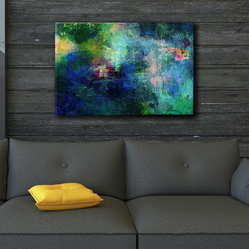 Soothing and Vibrant Blue and Green Splotches of Paint - Giclee Print Abstract Canvas Wall Art Rustic Home Art - 12x18 inches