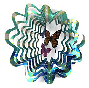 WorldaWhirl Whirligig 3D Wind Spinner Hand Painted Stainless Steel Twister Butterfly (12 Inch, Multi Color Blue Teal Silver)