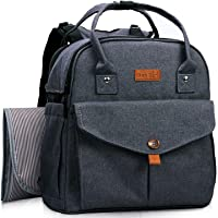 HapTim Baby Diaper Bag Backpack,Compact Baby Nappy Changing Bag(Darkgrey 5319)