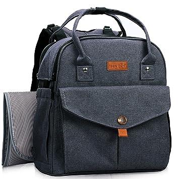 Mochila con bolsa para cambiar pañales para bebés, gran cantidad de bolsillos y espacio de almacenamiento Mochila con bolsa para pañales con correas ...