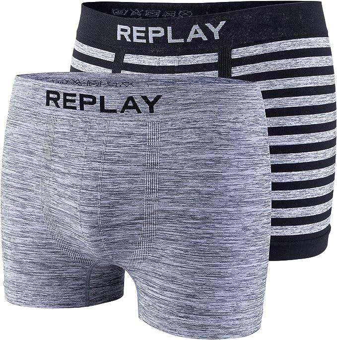 Replay Jeans Juego de 2 Calzoncillos Tipo bóxer de algodón para Hombre, Ajustados, sin Costuras.: Amazon.es: Ropa y accesorios