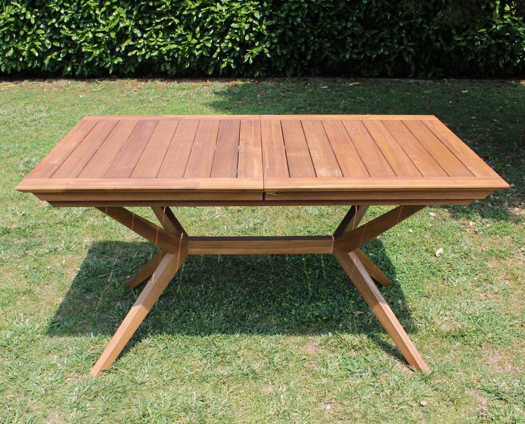 tavolo legno balau allungabile 170-235x95x74cm golden teak arredo ... - Tavolo Da Giardino In Legno Balau