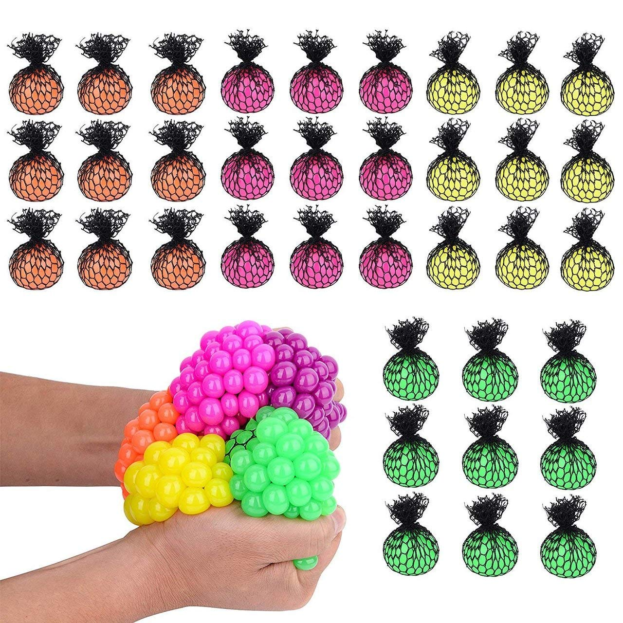 Totem World 36 Colorful Sewn Mesh Stress Balls - 2.4'' Squishy Fidget Toy Perfect for Kids and Adults Materials for Lasting Use - Squeeze Balls for Anxiety and Concentration - Great Party Favors