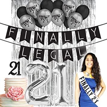 Finally Legal 21st BIRTHDAY DECORATIONS|21 Birthday Party Supplies| 21 Cake  Topper Black
