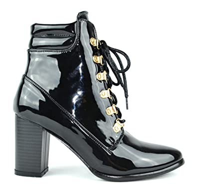 Ava-1 Pointy Toe Chunky Heel Lace Up Women's Ankle Bootie