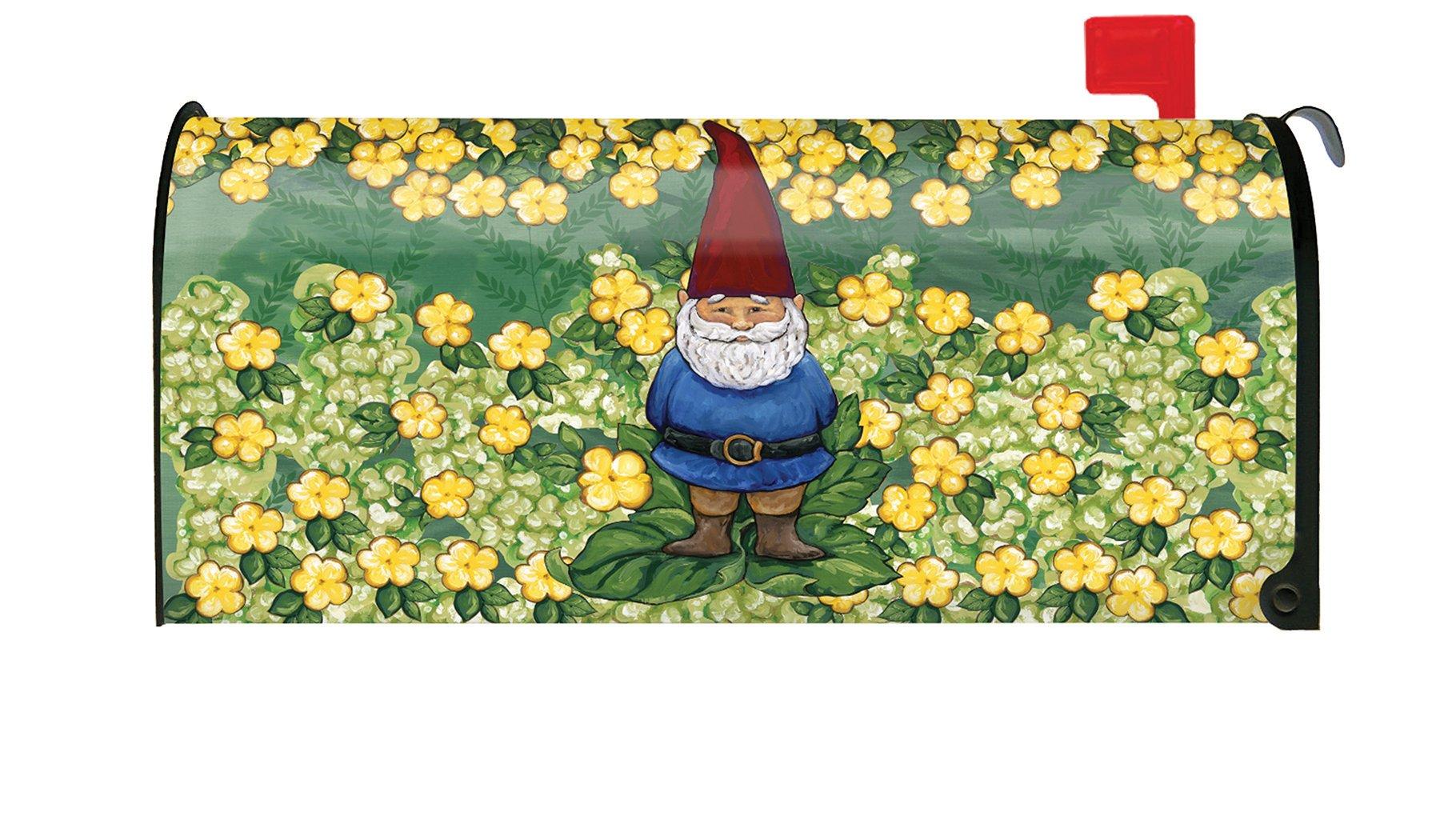 Toland Home Garden Garden Gnome Cute Spring Yellow Flower Magnetic Mailbox Cover