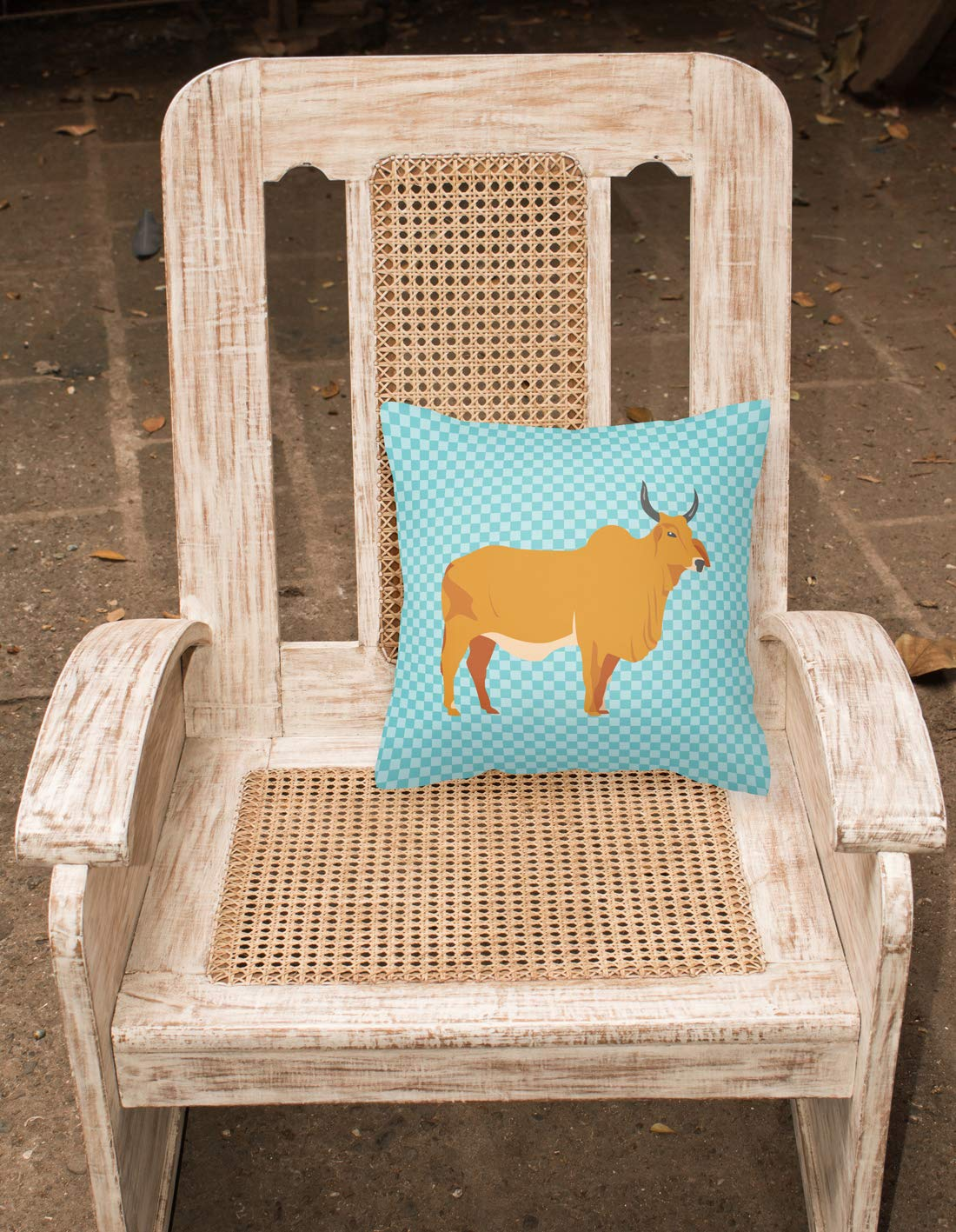 18H x18W Multicolor Carolines Treasures BB7999PW1818 Zebu Indicine Cow Blue Check Fabric Decorative Pillow