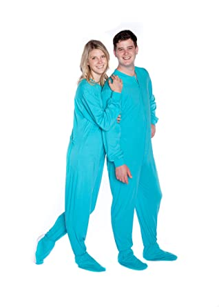 4ddcc8fdbe Image Unavailable. Image not available for. Color  Big Feet Pajama  Turquoise Jersey Knit Adult Onesie Footed Pajamas w Butt Flap