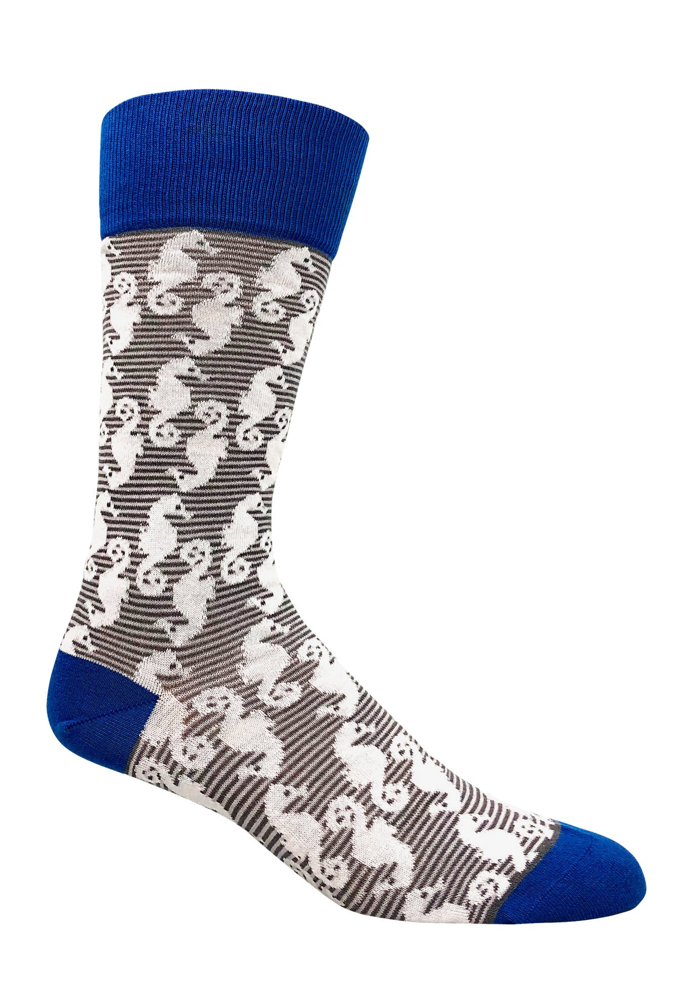 Men's organic cotton patterned mid-calf fun casual socks - Seahorse Grey