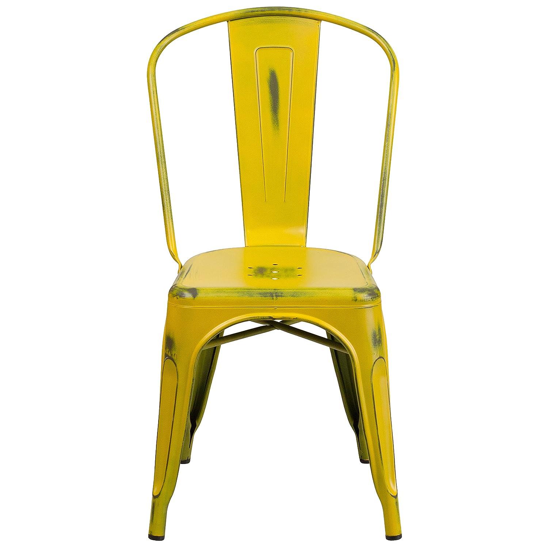 Amazon Flash Furniture Distressed Yellow Metal Indoor
