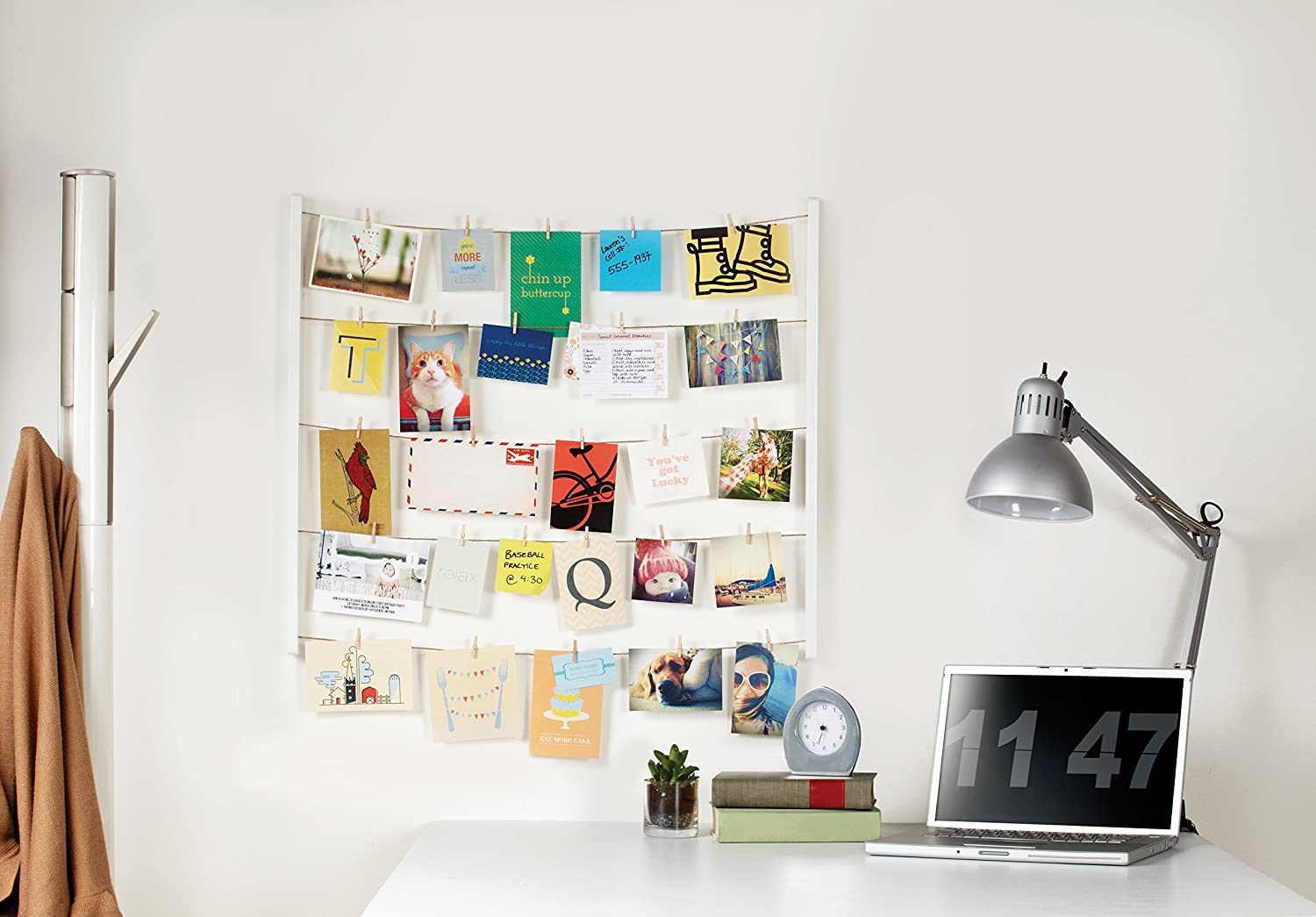 Amazon.com - Umbra Hangit Photo Display - DIY Picture Frames Collage Set  Includes Picture Hanging Wire Twine Cords, Natural Wood Wall Mounts and  Clothespin ...