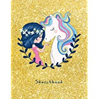 "Sketchbook: Cute Unicorn for Girls on Golden Effect Background, 110 Pages, 8.5"" x 11"",Large Notebook For Drawing, Sketching, Journaling, Doodling, ... Designing, Painting, Writing(Sketch Artists)"