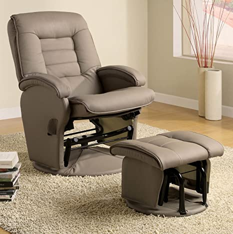 Admirable Coaster Home Furnishings Swivel Recliner W Ottoman In Beige Gmtry Best Dining Table And Chair Ideas Images Gmtryco