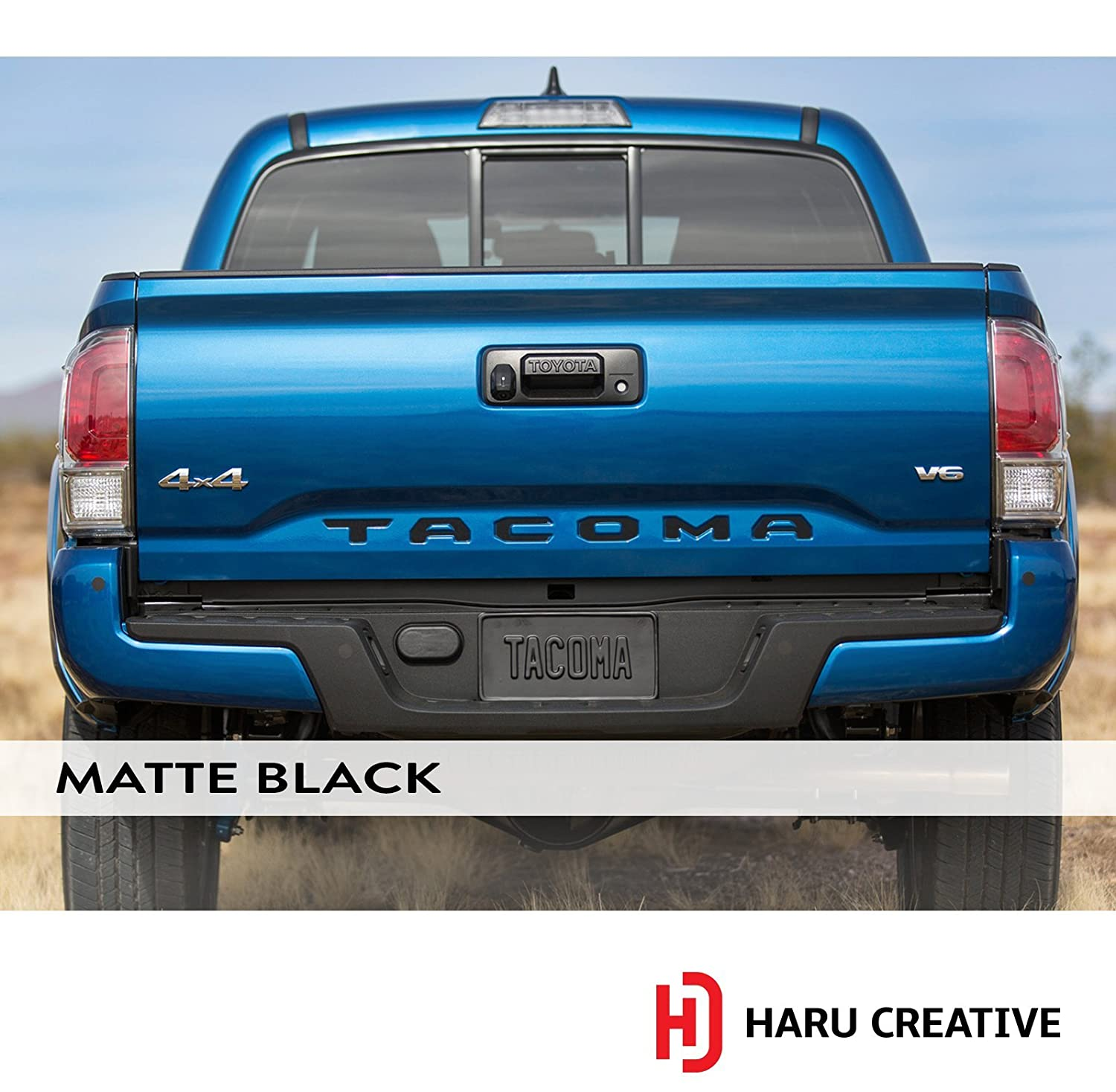 Haru Creative Rear Trunk Tailgate Letter Insert Decal Compatible with and Fits Toyota Tacoma 2016 2017 2018 2019 Matte Black