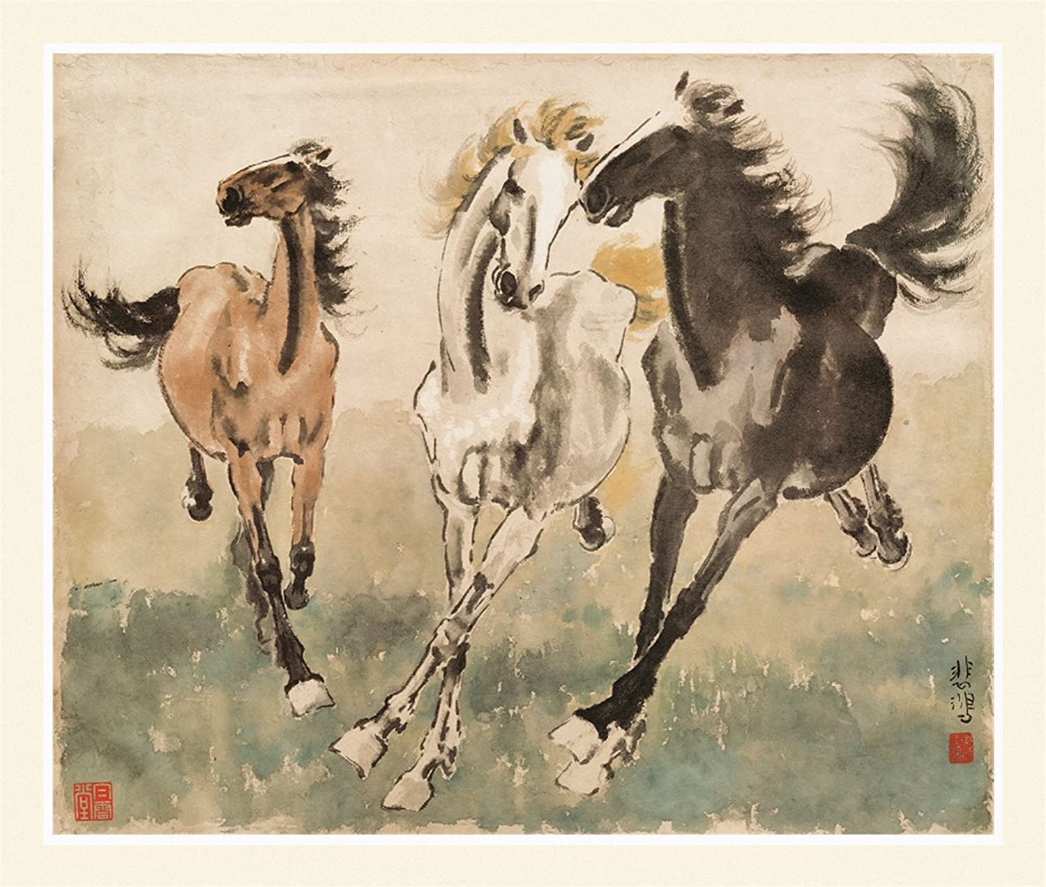 Ink Wash Giclee Prints Xu Beihong Chinese Horse Painting 3 Wild Galloping Running Horses Wall Art Decor Feng Shui Horse Success Symbol For Home Office